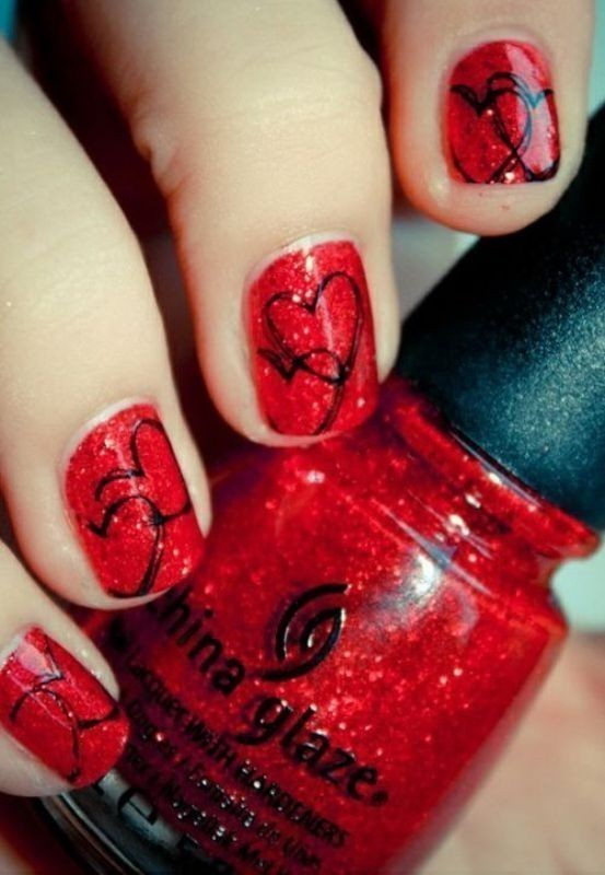 Valentines-Day-Nails-2017-6 50+ Lovely Valentine's Day Nail Art Ideas 2020