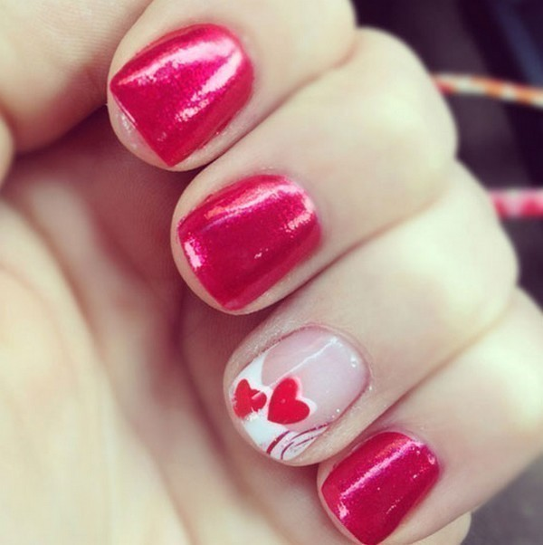 Valentines-Day-Nails-2017-69 50+ Lovely Valentine's Day Nail Art Ideas 2018