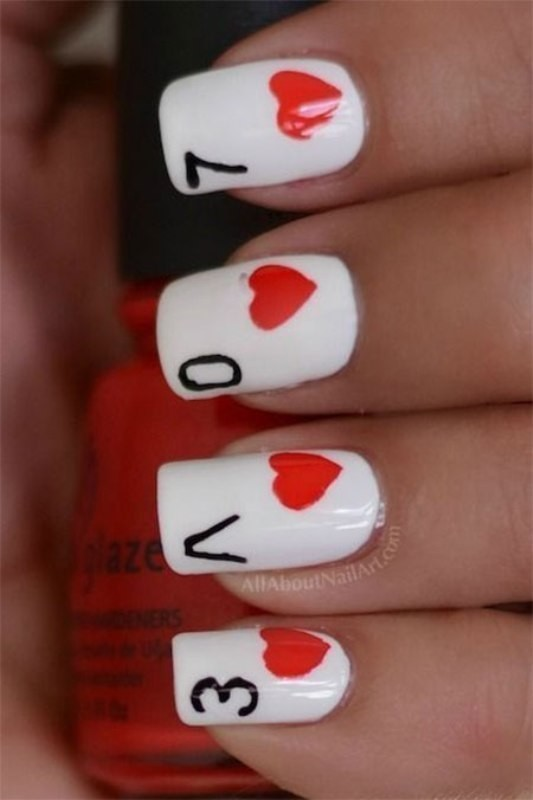 Valentines-Day-Nails-2017-8 50+ Lovely Valentine's Day Nail Art Ideas 2018