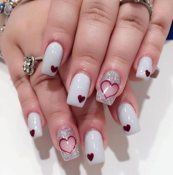 Valentines-Day-Nails-2017-83 50+ Lovely Valentine's Day Nail Art Ideas 2018