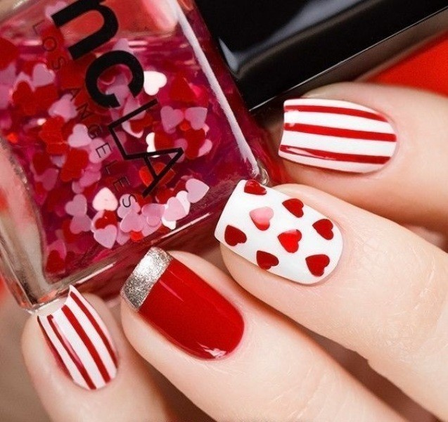 Valentines-Day-Nails-2017-84 50+ Lovely Valentine's Day Nail Art Ideas 2018