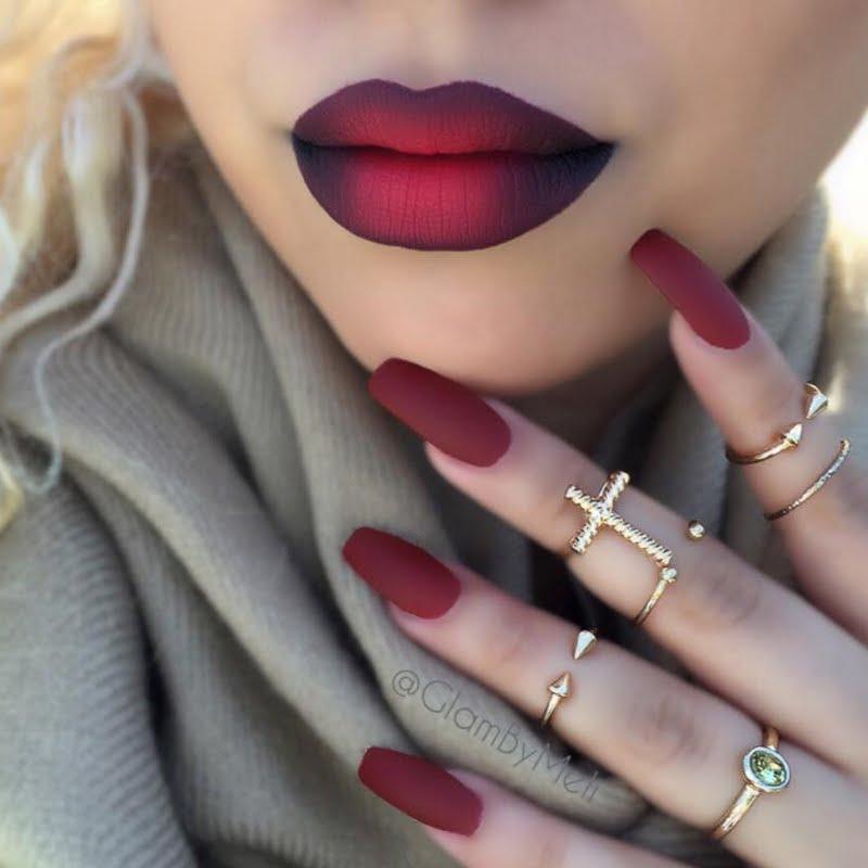fall-ombre-lips-nails_look_2c7ba11ef25041231a2ffb98f4a8d42d_look 16 Creative Lip Makeup Art Trends in 2018