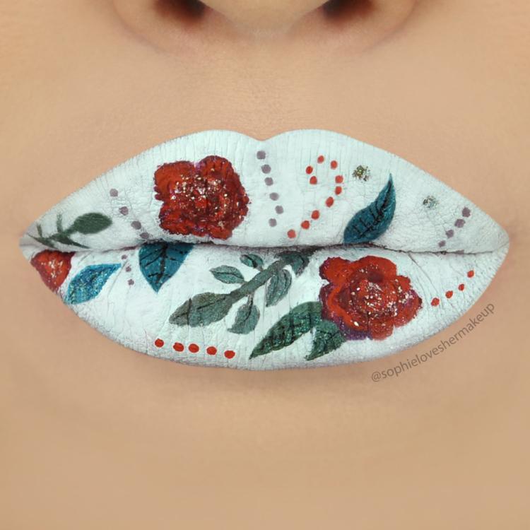 flowerlips2 16 Creative Lip Makeup Art Trends in 2018