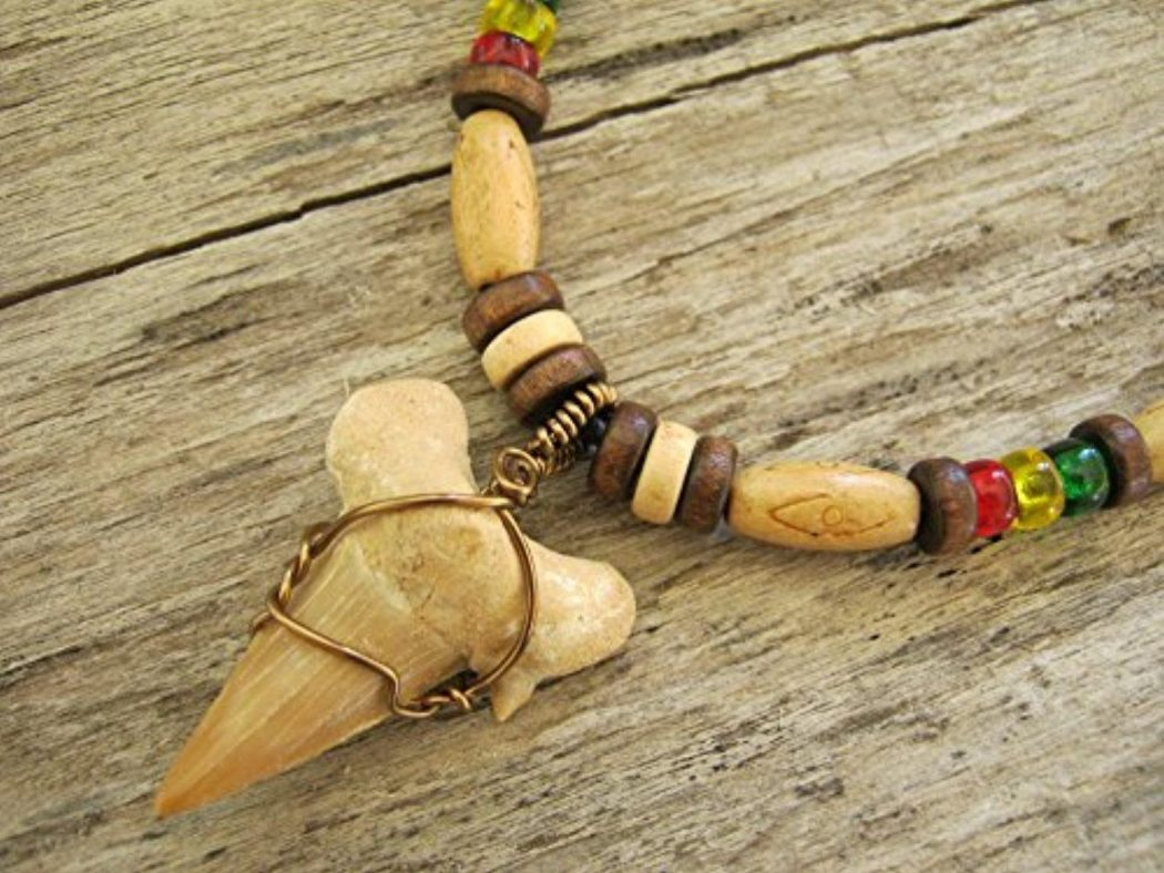 rasta-shark-tooth-necklace-fossilized-shark-tooth-pendant-eco-friendly-adjustable-womens-mens-necklace-tribal-surfer-ready-to-ship 10 Most Unusual Necklaces You Will Ever See