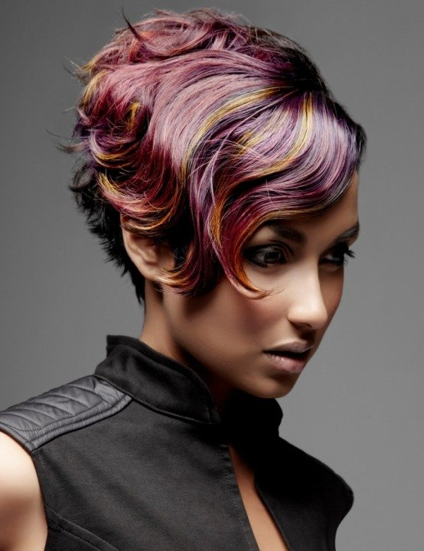 several-colors-15 80+ Marvelous Color Ideas for Women with Short Hair