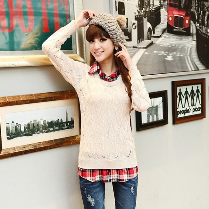 sweater-and-shirt-outfit-675x675 5 Casual Winter Outfits for Elegant Ladies
