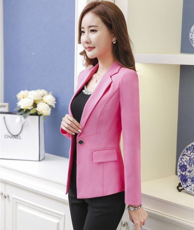Novelty-font-b-Pink-b-font-Professional-font-b-Formal-b-font-Pantsuits-With-Jackets-And-675x799 15+ Elegant Working Ladies Spring Outfit Ideas in 2020