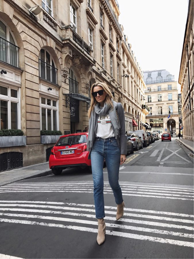 Paris-Fashion-Week-Gucci-Logo-Tee-Grey-Blazer-Vintage-Chanel-1-of-8-5-675x899 35+ Stellar European Fashions for Spring 2018