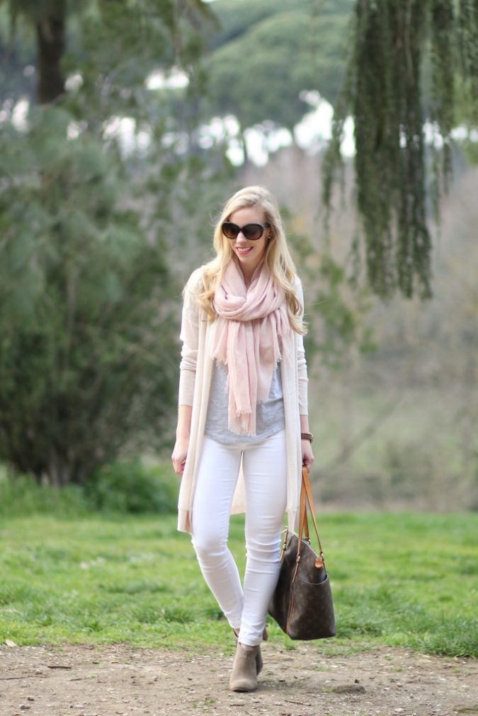 neutral-layers-for-spring-neutral-color-outfit-light-pink-scarf-gray-tee-with-long-cardigan-maxi-cardigan-outfit-Adriano-Goldschmied-white-ankle-jeans-suede-ankle-boots-light-pink-and-gray-Italian--675x1012 15 Shiny Spring Outfit Ideas for Working Ladies