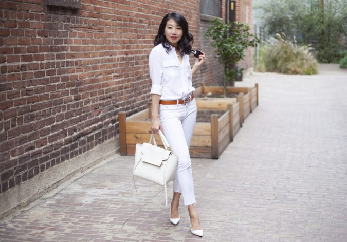 poshclassymom-all-white-equipment-silk-blouse-jbrand-ag-white-skinny-jeans-manolo-blahnik-bb-hermes-belt-celine-belt-bag-karen-walker-sunglasses-chanel-earrings-cartier-amulette-6-675x471 15+ Elegant Working Ladies Spring Outfit Ideas in 2020