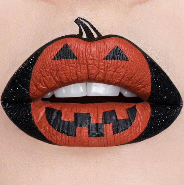 vladamua-orange-black-pumpkin-halloween-lip-art 16 Creative Lip Makeup Arts