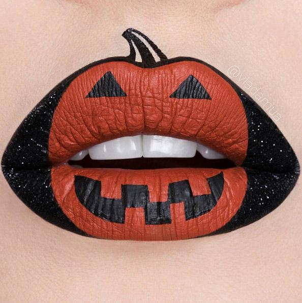 vladamua-orange-black-pumpkin-halloween-lip-art 16 Creative Lip Makeup Art Trends in 2018