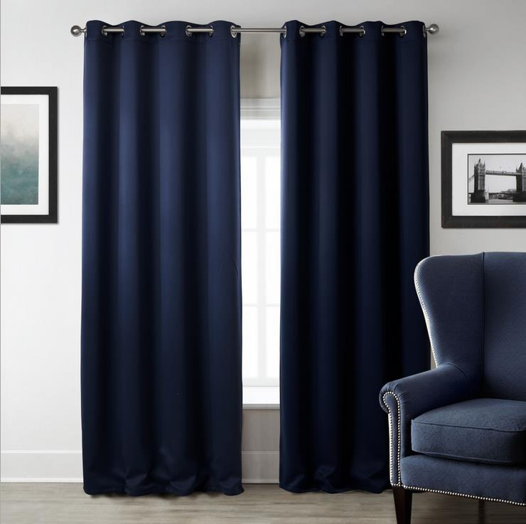 1-piece-Modern-font-b-Dark-b-font-Blue-blackout-fabric-Curtains-for-Living-Room-Window 20+ Hottest Curtain Designs for 2019