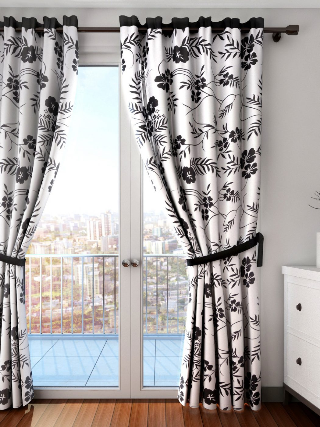 11465451719574-SWAYAM-White-Black-Single-Floral-Print-Long-Door-Curtain-7831465451719436-1 20+ Hottest Curtain Design Ideas for 2021
