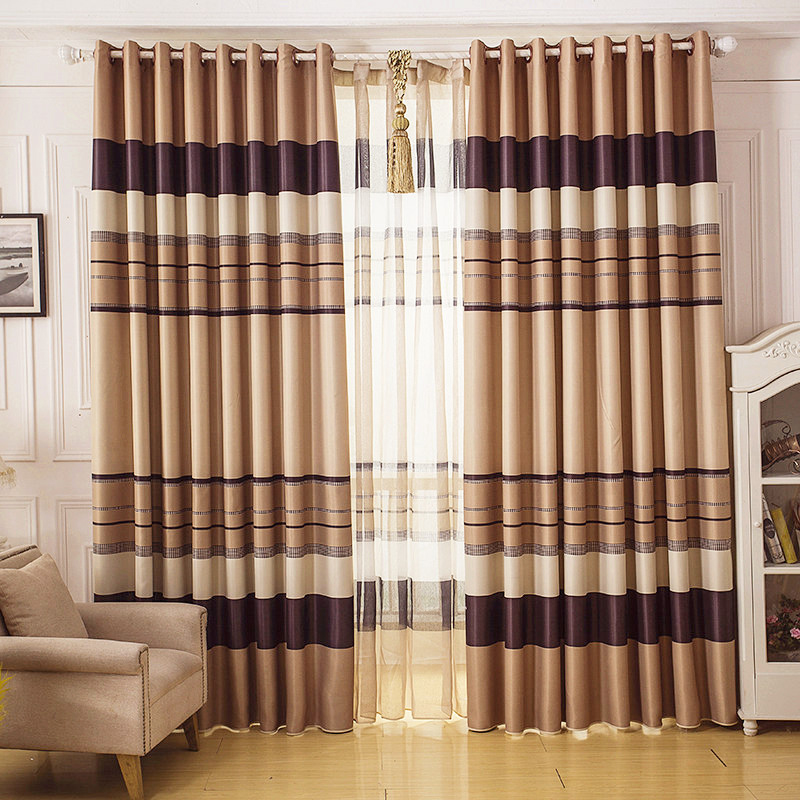 Affordable-BeigeBrown-Striped-Curtains-Blackout-CMT14392-1 20+ Hottest Curtain Designs for 2019