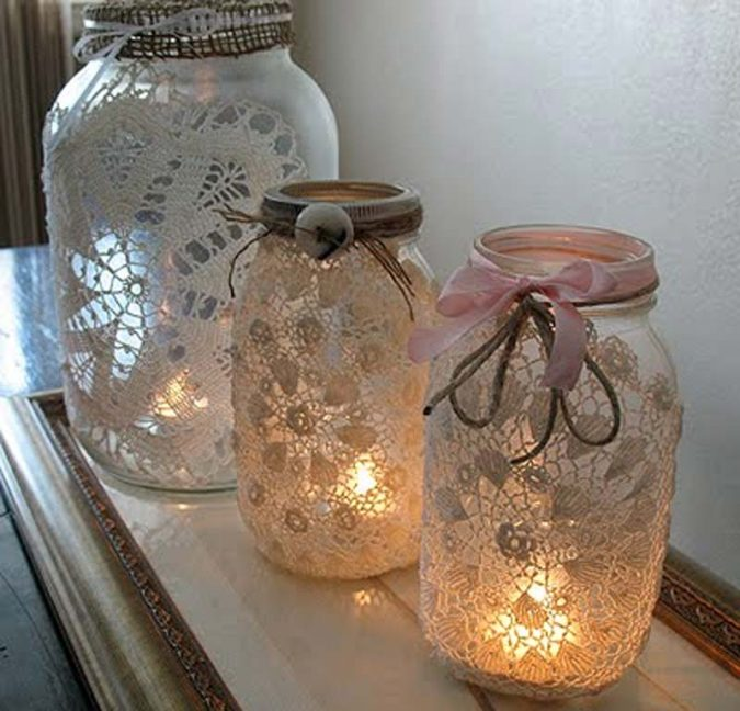 DIY-laced-jars-675x648 8 Creative DIY Decor Ideas for a Fancy-looking home in 2020