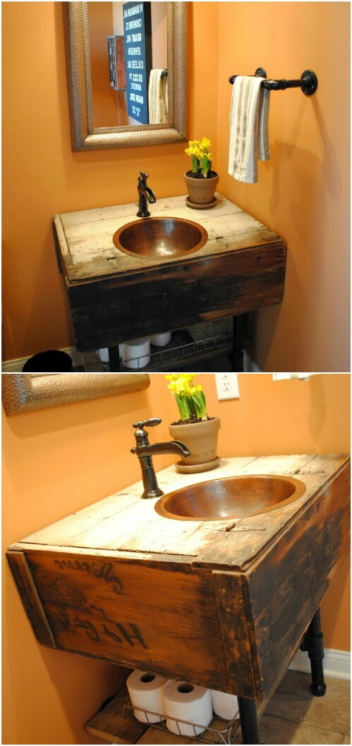 DIY-reclaimed-vanity 15 Stylish Bedroom & Bathroom Vanities DIY Ideas in 2020