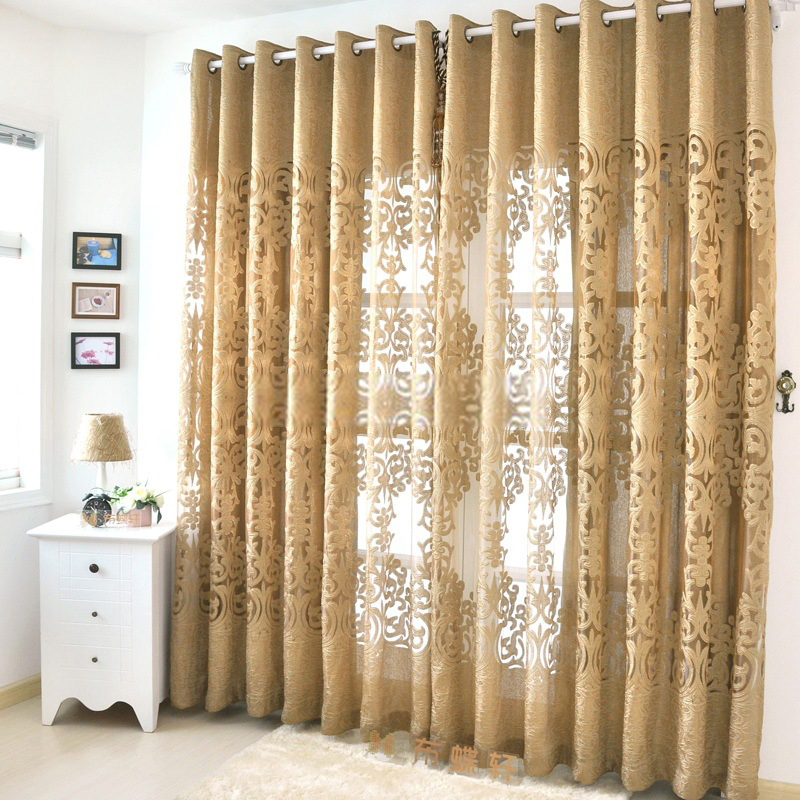 Dark-gold-sheer-curtains-are-very-luxury-and-elegant-Jd1105632056-1 20+ Hottest Curtain Designs for 2019