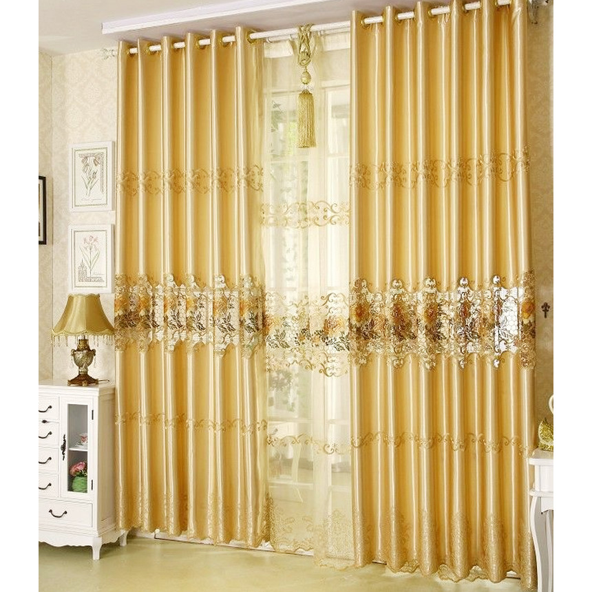 Gold-Embossed-Floral-Gorgeous-Luxury-Shabby-Chic-Curtains-CMT18131-1 20+ Hottest Curtain Designs for 2019