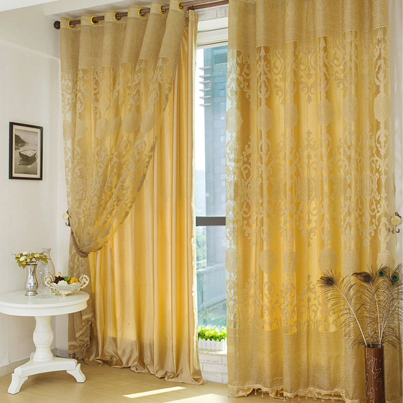Gold-curtains-in-living-room-are-simple-but-luxury-Jd1025645489-1 20+ Hottest Curtain Designs for 2019