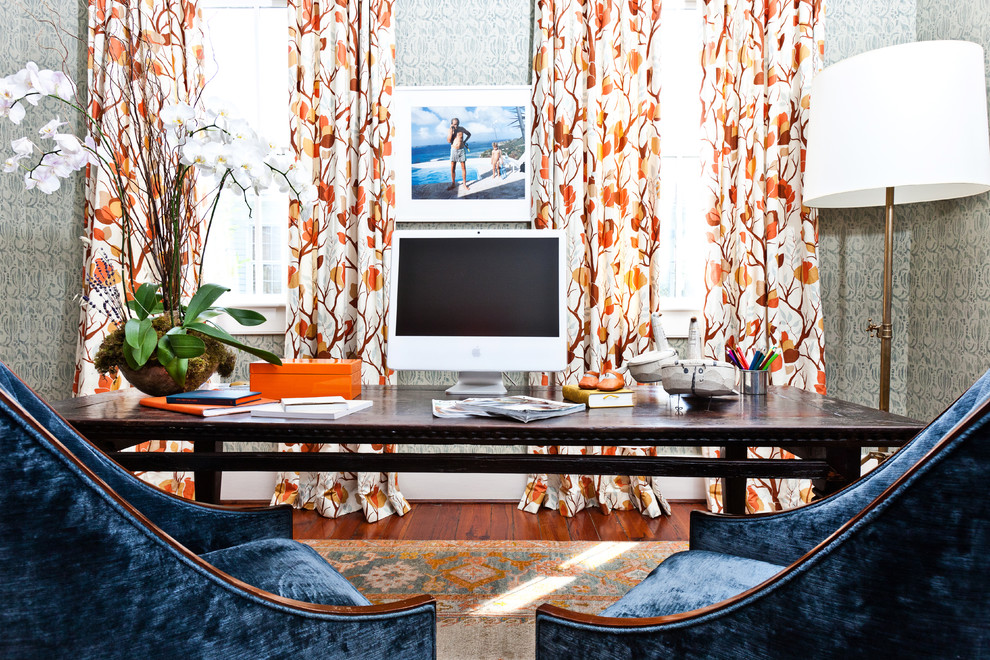 Great-Bright-Orange-Curtain-Panels-Decorating-Ideas-Gallery-in-Home-Office-Eclectic-design-ideas- 20+ Hottest Curtain Designs for 2019