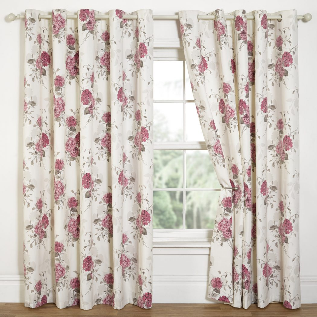 Hydrangea-Pink-Floral-Eyelet-Curtains 20+ Hottest Curtain Design Ideas for 2021