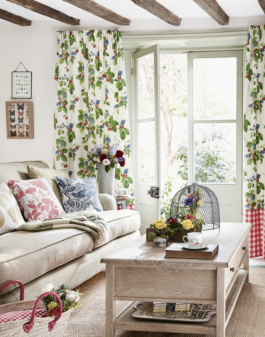 Living-room-with-floral-curtains 20+ Hottest Curtain Designs for 2019
