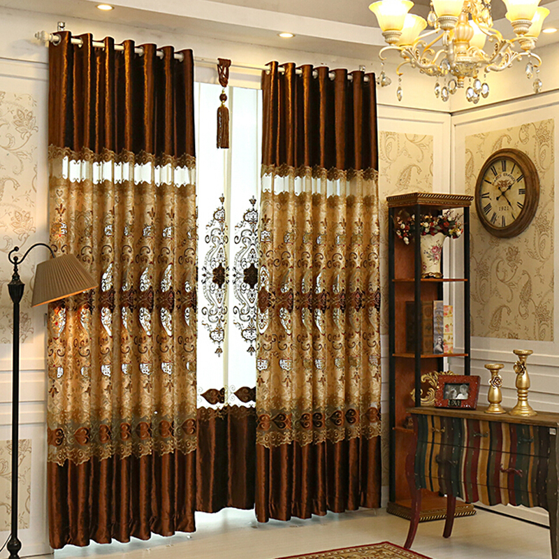 Luxury-Gold-Brown-Lace-Patterned-Living-Room-Curtains-CMT10011-1 20+ Hottest Curtain Design Ideas for 2021