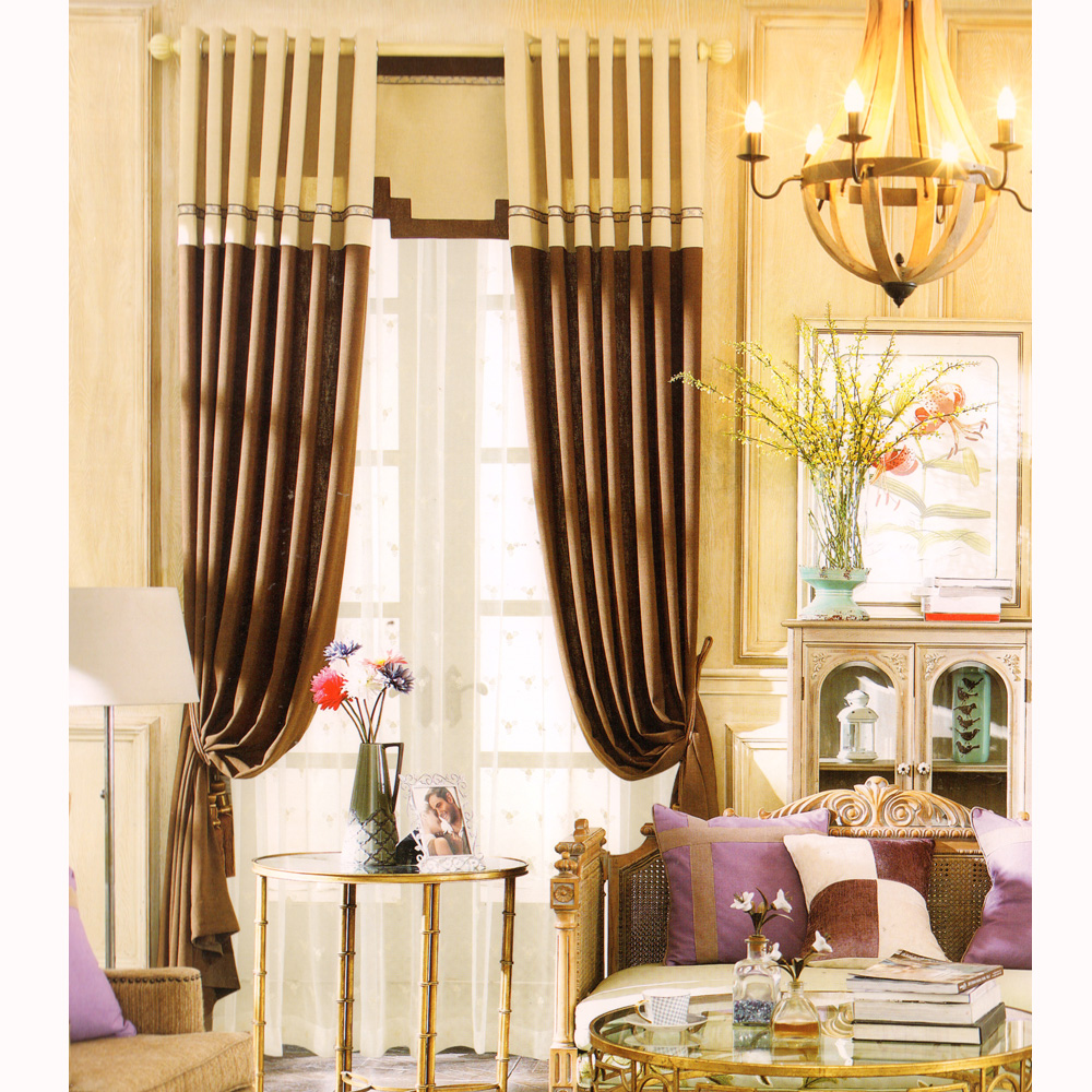 Modern-Curtains-Beige-and-Brown-Solid-Pattern-Jacquard-CMT07290935443-1 20+ Hottest Curtain Design Ideas for 2021