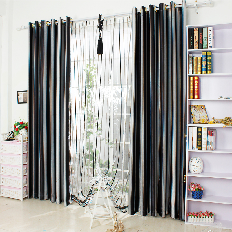 New-Home-Decor-font-b-Window-b-font-Modern-Yarn-Dyed-font-b-Black-b-font 20+ Hottest Curtain Designs for 2019