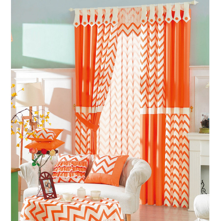 Orange-Striped-Modern-Brief-Customized-Ready-Made-Geometric-Curtains-CMT18129-1 20+ Hottest Curtain Designs for 2019