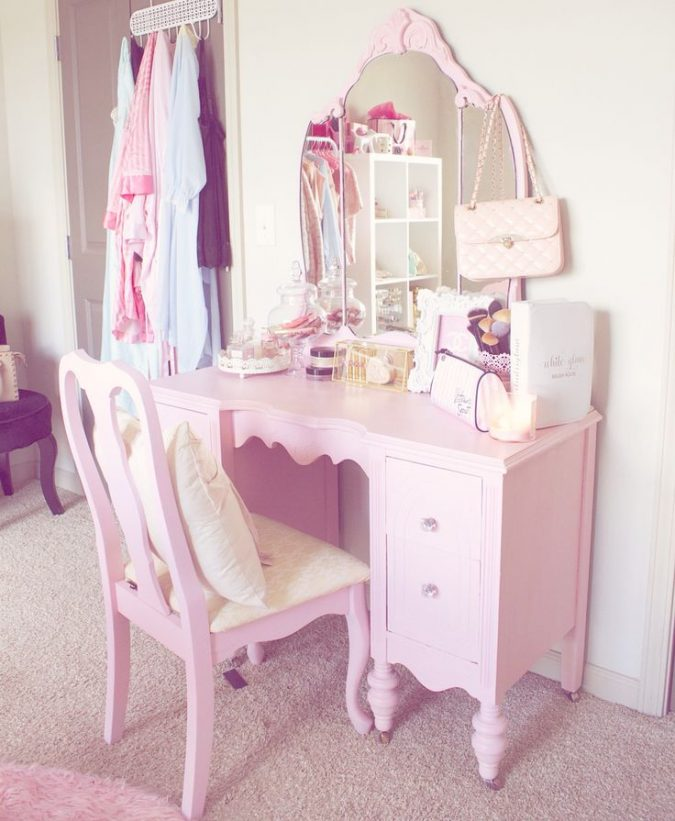 Pink-vanity-for-bedroom-675x821 15 Stylish Bedroom & Bathroom Vanities DIY Ideas in 2020