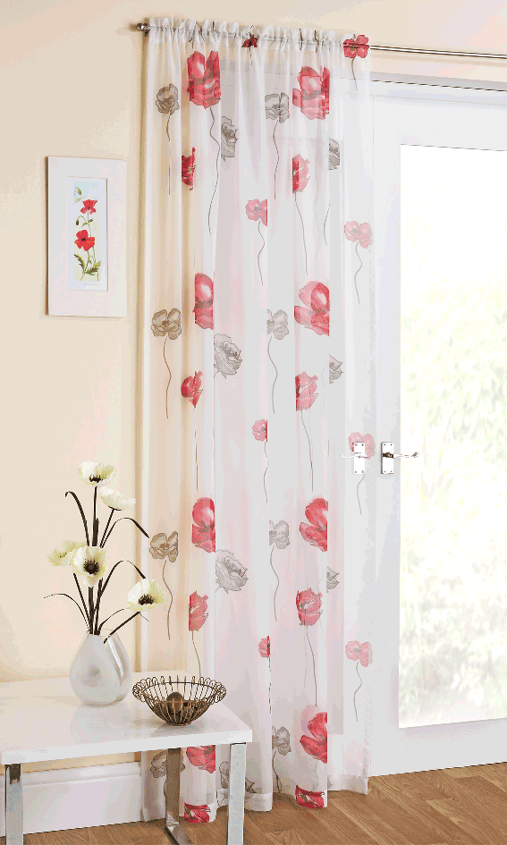 Voiles-Poppy-Red 20+ Hottest Curtain Designs for 2019