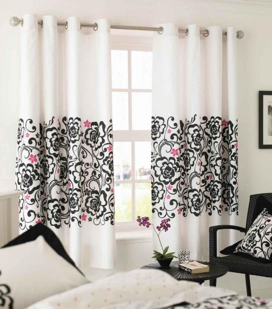 black-and-pink-floral-pattern_white-sliding-valance_stainless-steel-holder_clear-glass-plaid-window_cushions_quilts_black-wicker-chair_round-black-wooden-table 20+ Hottest Curtain Designs for 2018