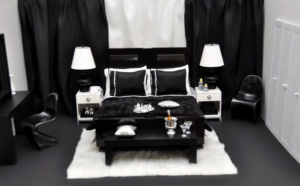 black-and-red-bedroom-decor-white-wall-and-roof-top-double-set-table-lamp-elegant-inspired-bedside-lamps-white-fashionable-bed-sets-white-roof-top 20+ Hottest Curtain Designs for 2019