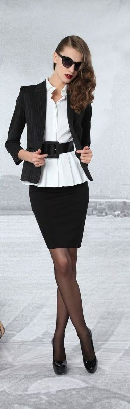 black-and-white-color-combination-1-1 87+ Elegant Office Outfit Ideas for Business Ladies in 2020
