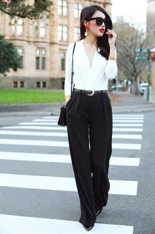 black-and-white-color-combination-13-1 87+ Spring and Summer Office Outfit Ideas for Business Ladies 2019