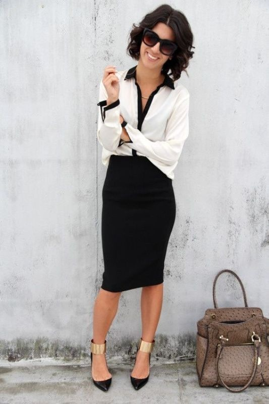 black-and-white-color-combination-15-1 87+ Elegant Office Outfit Ideas for Business Ladies in 2020