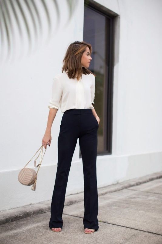 black-and-white-color-combination-23-1 87+ Elegant Office Outfit Ideas for Business Ladies in 2020