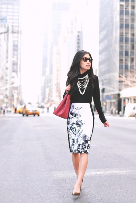 black-and-white-color-combination-24-1 87+ Elegant Office Outfit Ideas for Business Ladies in 2021
