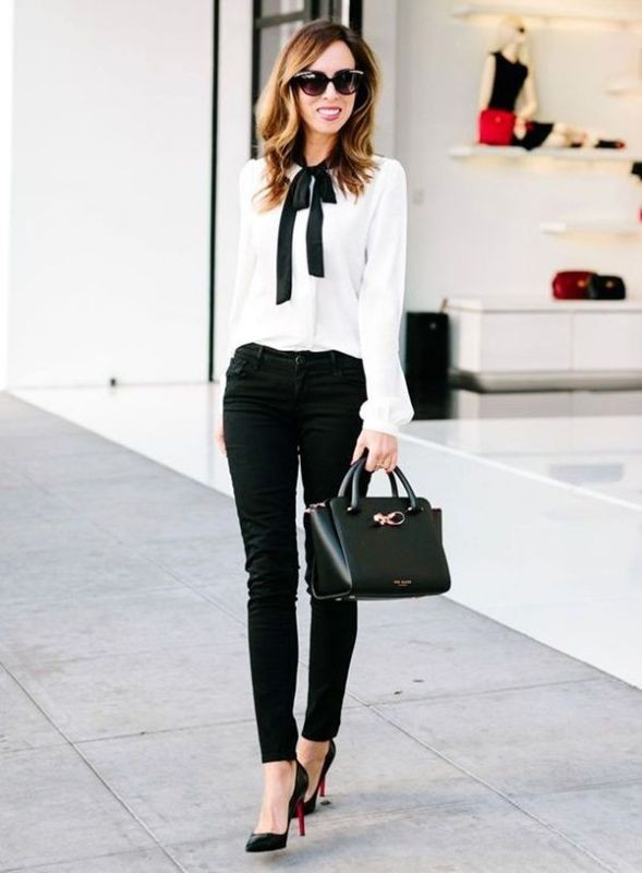 black-and-white-color-combination-28-1 87+ Spring and Summer Office Outfit Ideas for Business Ladies 2019