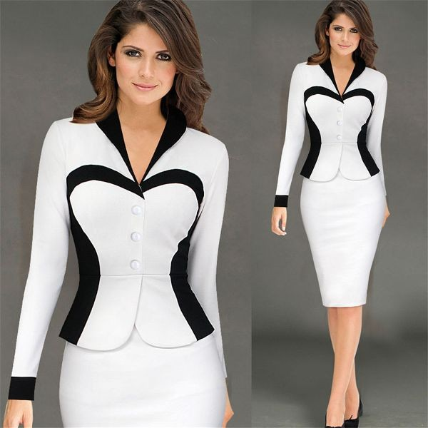 black-and-white-color-combination-29-1 87+ Elegant Office Outfit Ideas for Business Ladies in 2020