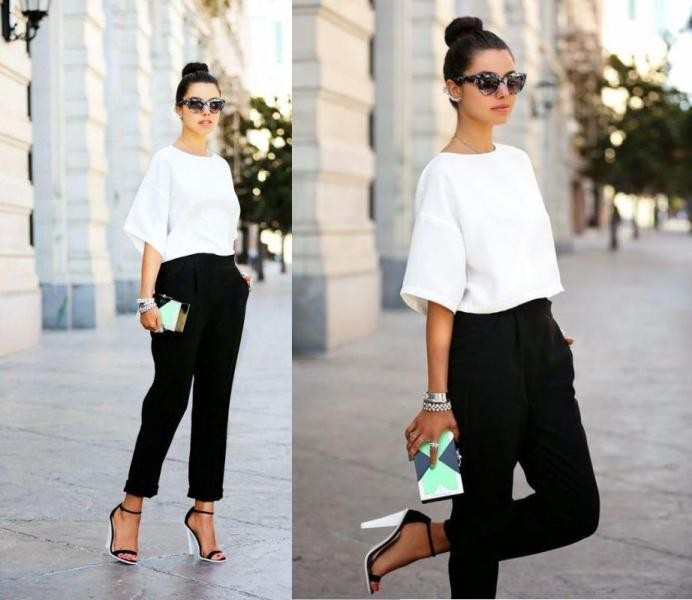 black-and-white-color-combination-32-1 87+ Spring and Summer Office Outfit Ideas for Business Ladies 2019