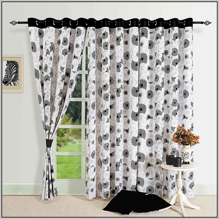 black-and-white-floral-eyelet-curtains 20+ Hottest Curtain Design Ideas for 2021