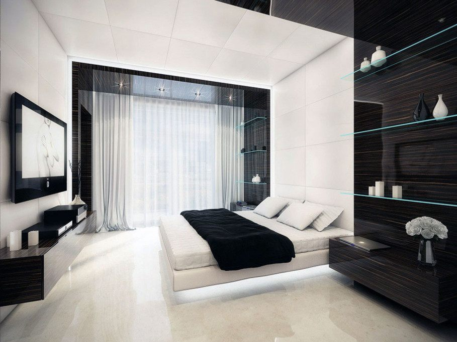black-white-and-red-bedroom-ideas-simple-pendant-lamp-round-white-minimalist-new-bed-classic-artworks-frame-picture-white-flooring-small-pendant-lamp-white-roof-top 20+ Hottest Curtain Design Ideas for 2021