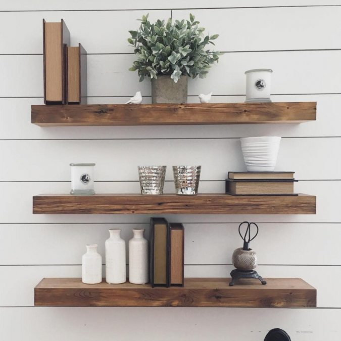 floating-shelves-675x674 11 Charming Rustic Home Decors & Living Sets Trends in 2018