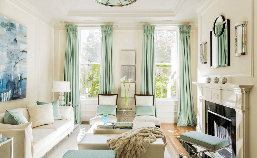 long-mint-curtains 20 Hottest Curtain Designs for 2017