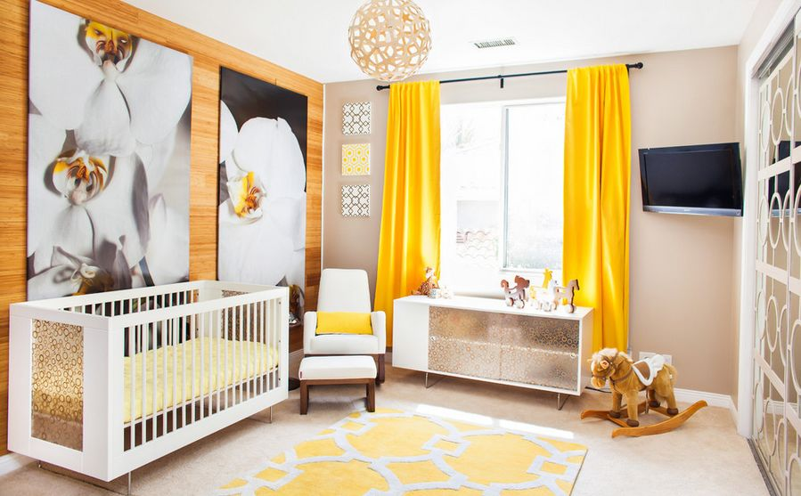 modern-bright-nursery-with-yellow-curtains 20+ Hottest Curtain Designs for 2019
