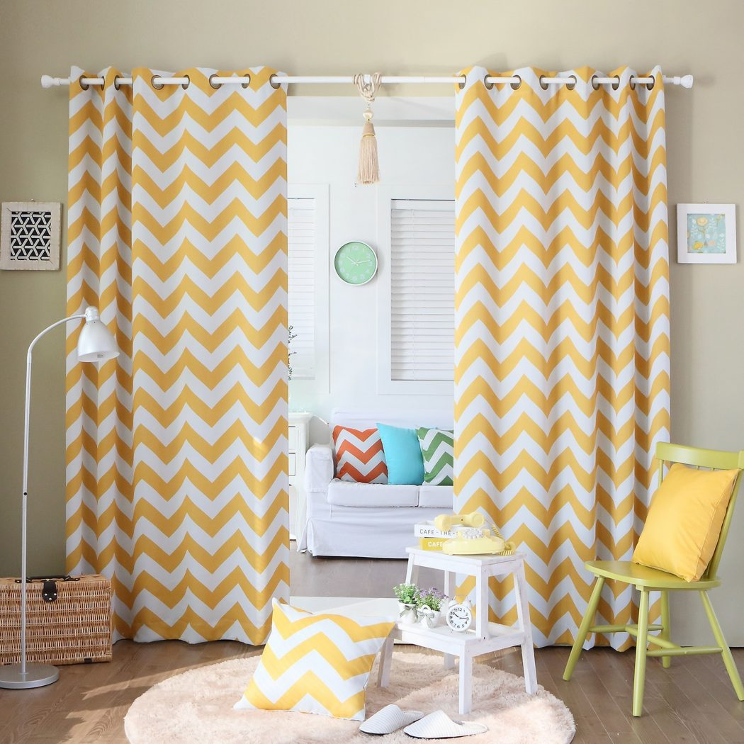 mustard-yellow-ikat-curtains 20+ Hottest Curtain Design Ideas for 2020