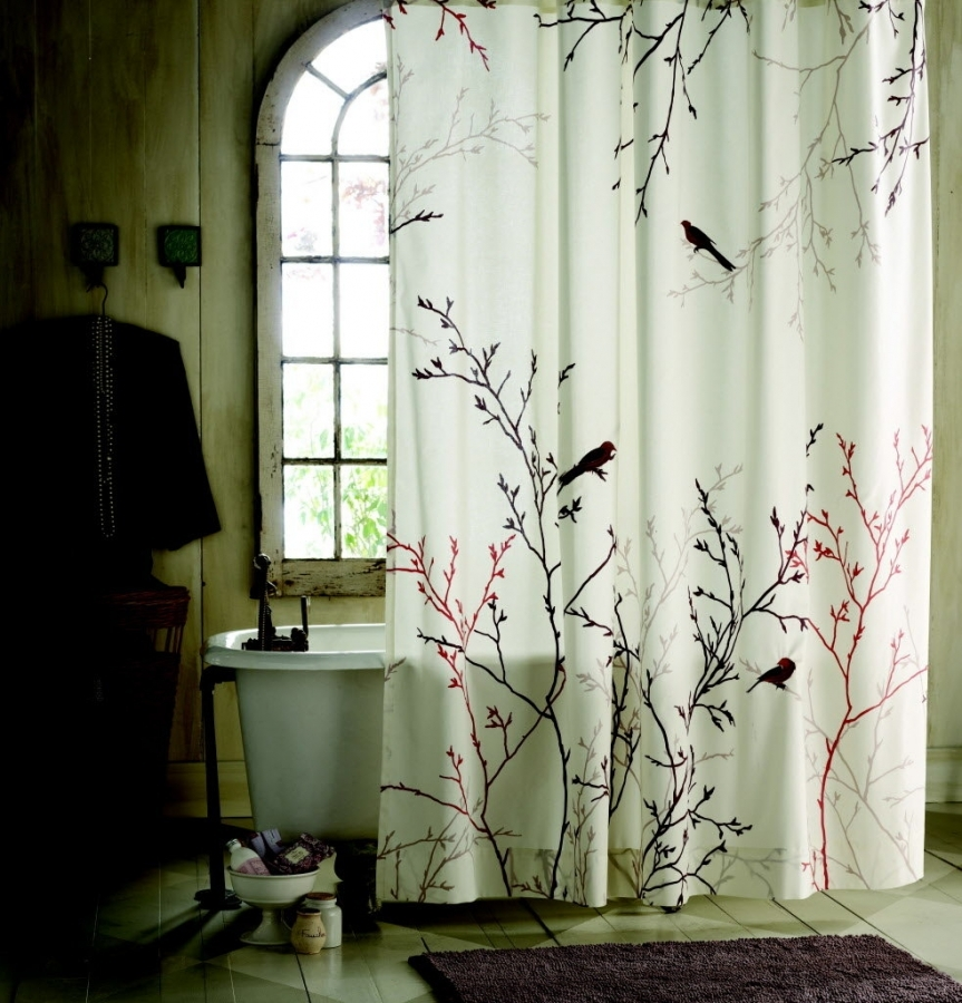 nature-inspired-shower-curtain-bathroom-leaf-nature-inspired-within-best-nature-themed-shower-curtains 20+ Hottest Curtain Designs for 2019